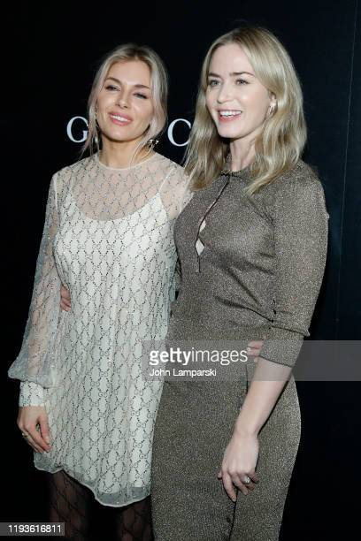 "Sienna Miller and Emily Blunt attend the screening of ""American Woman"" at Metrograph on December 12, 2019 in New York City."