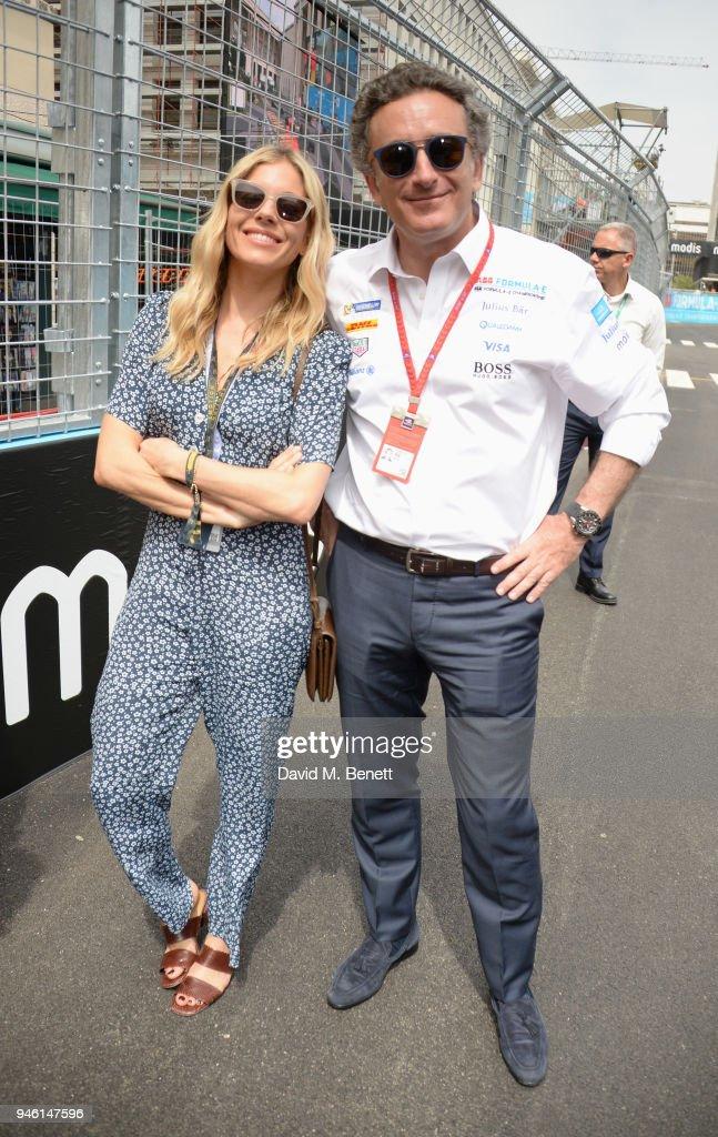 Sienna Miller (L) and FIA Formula E CEO Alejandro Agag attend the ABB FIA Formula E CBMM Niobium Rome E-Prix 2018 on April 14, 2018 in Rome, .