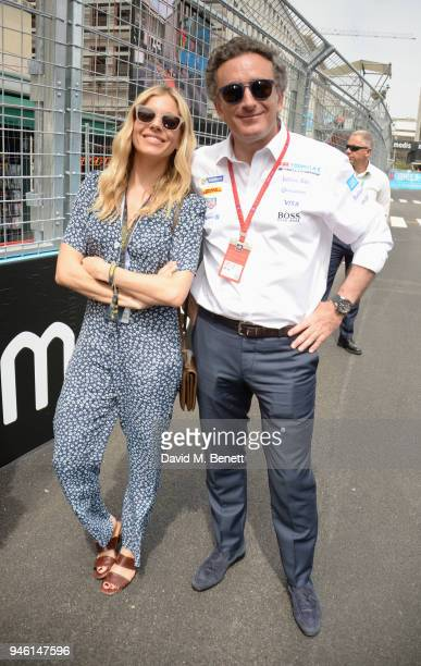 Sienna Miller and FIA Formula E CEO Alejandro Agag attend the ABB FIA Formula E CBMM Niobium Rome EPrix 2018 on April 14 2018 in Rome