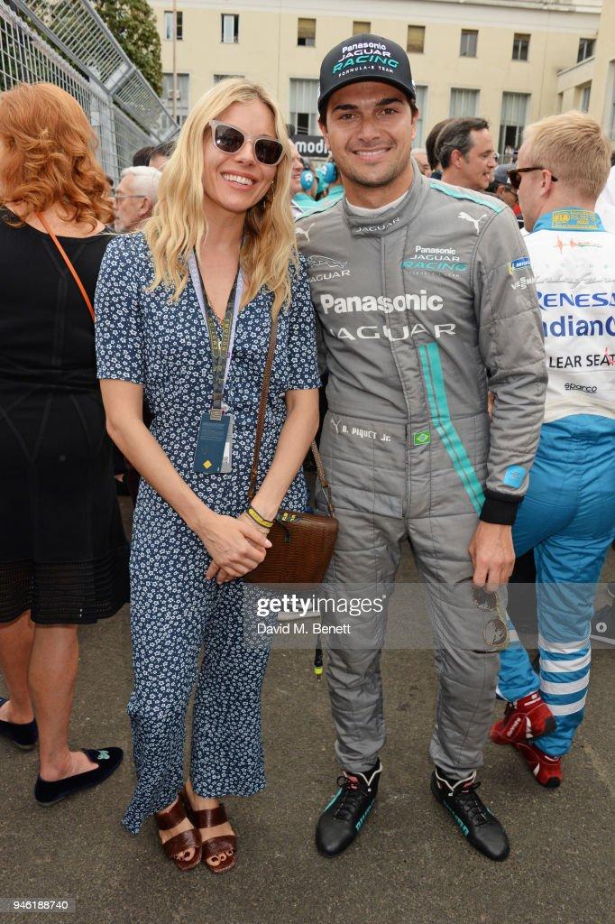 Sienna Miller (L) and Formula E driver Nelson Piquet Jr attend the ABB FIA Formula E CBMM Niobium Rome E-Prix 2018 on April 14, 2018 in Rome, .