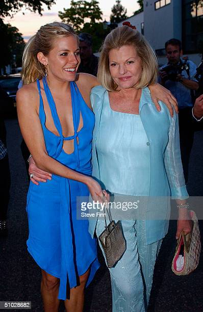 Sienna Miller and her mother leave David Frost's Summer Party at Carlisle Square on July 6 2004 in London