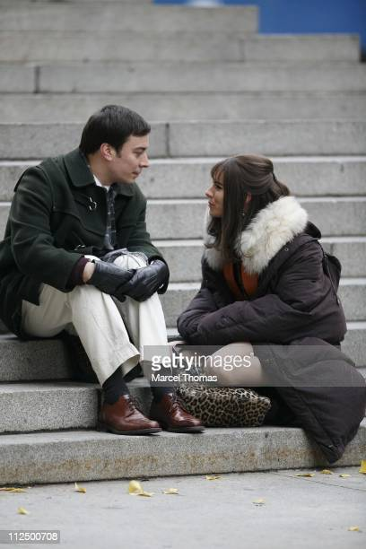 Sienna Miller and Jimmy Fallon during Sienna Miller Jimmy Fallon and Guy Pearce on the Set of Factory Girl November 20 2006 in New York City New York...