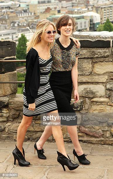 Sienna Miller and Keira Knightley pose for a photocall ahead of tonight's world premiere of 'The Edge Of Love' at Edinburgh Castle on June 18 2008 in...