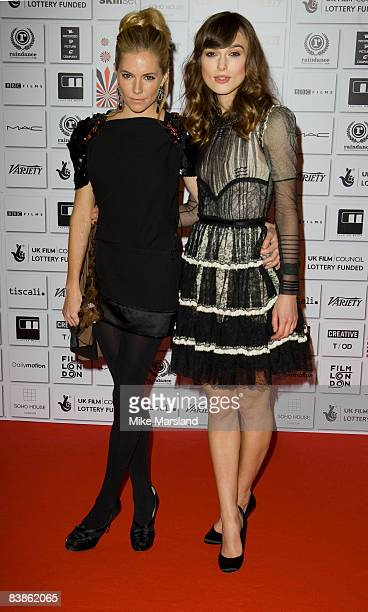 Sienna Miller and Kira Knightley attend The British Independent Film Awards 2008 at the Old Billingsgate Market on November 30 2008 in London England