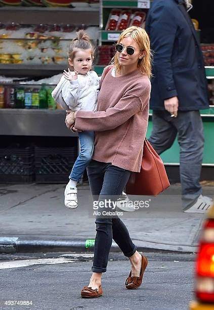 Sienna Miller and Marlowe Ottoline Layng Sturridge are seen in Soho on October 22 2015 in New York City