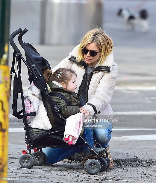 Sienna Miller and Marlowe Sturridge are seen in the West Village on March 16 2015 in New York City