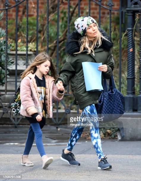 Sienna Miller and Marlowe Sturridge are seen in West Village on February 10 2020 in New York City
