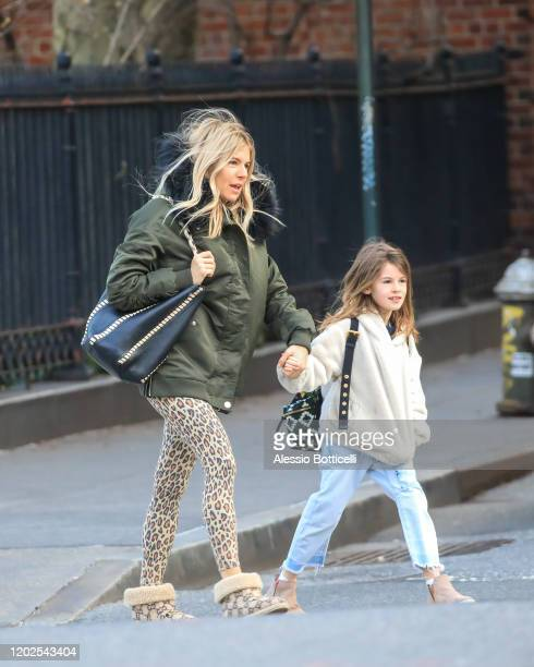 Sienna Miller and Marlowe Sturridge are seen in West Village on January 28 2020 in New York City