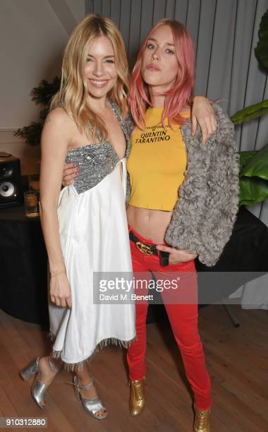 Sienna Miller and Mary Charteris attend the launch of Teresa Tarmey's new 'at home facial system' at Mortimer House, sponsored by CIROC, on January...