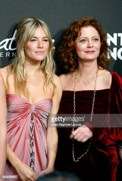 Sienna Miller and Susan Sarandon arrive at Montblanc 'Signature for Good' Charity Gala at Paramount Studios on February 20 2009 in Los Angeles...