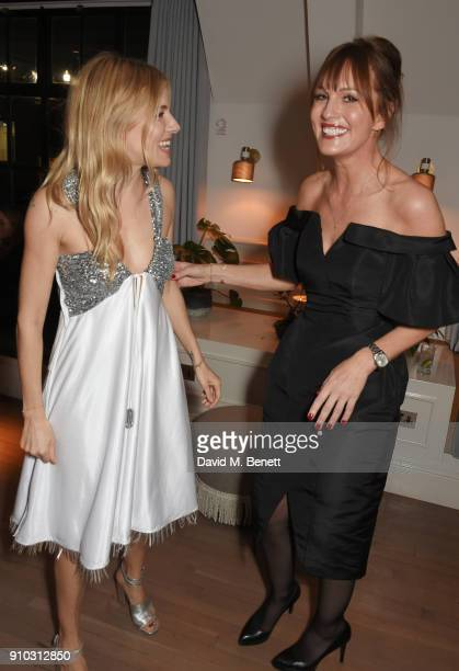 Sienna Miller and Teresa Tarmey attend the launch of Teresa Tarmey's new 'at home facial system' at Mortimer House, sponsored by CIROC, on January...