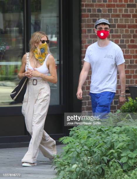 Sienna Miller and Tom Sturridge are seen on July 28, 2020 in New York City.