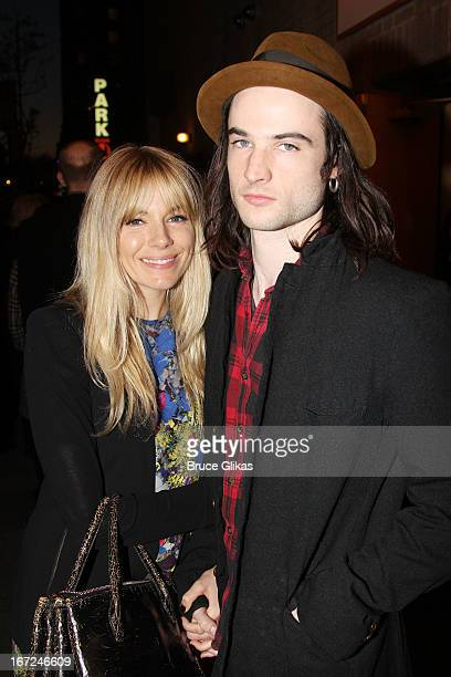 Sienna Miller and Tom Sturridge pose at the opening night of 'The Testament of Mary' on Broadway at The Walter Kerr Theater on April 22 2013 in New...