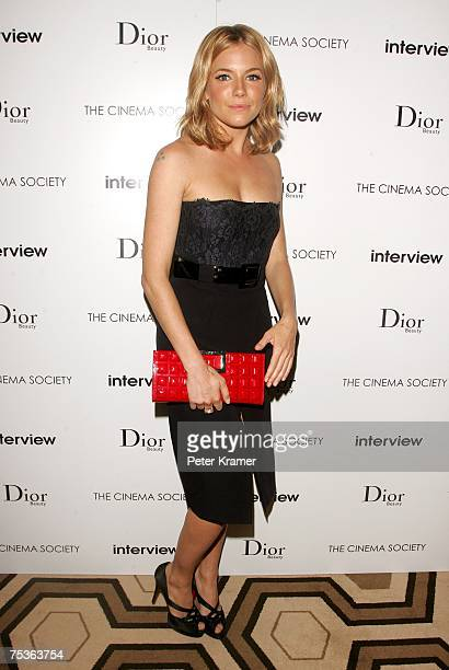 Sienna Miller arrives during a screening of Interview hosted by The Cinema Society and Dior Beauty at the Tribeca Grand Screening Room on July 11...
