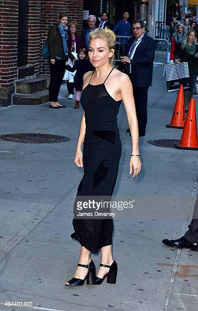 Sienna Miller arrives to 'The Late Show With Stephen Colbert' at Ed Sullivan Theater on October 26 2015 in New York City