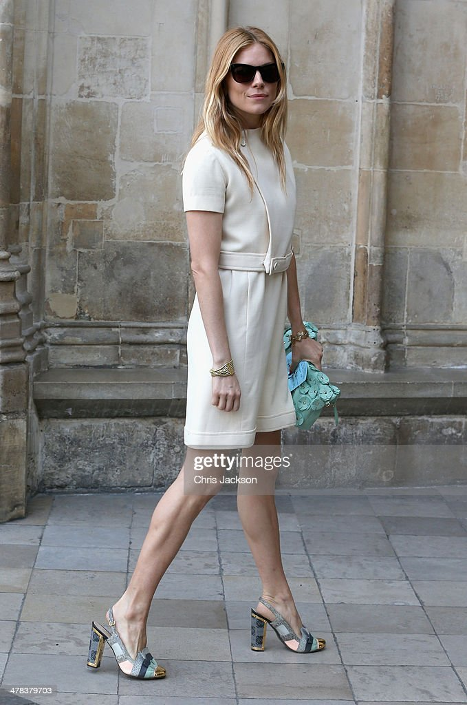 Sienna Miller attends a memorial service for Sir David Frost at Westminster Abbey on March 13, 2014 in London, England.