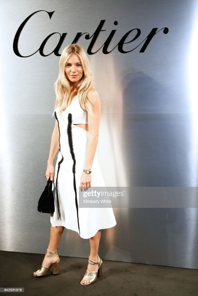 Sienna Miller attends Cartier celebration of the launch of Santos de Cartier Watch at Pier 48 on April 5, 2018 in San Francisco, California.