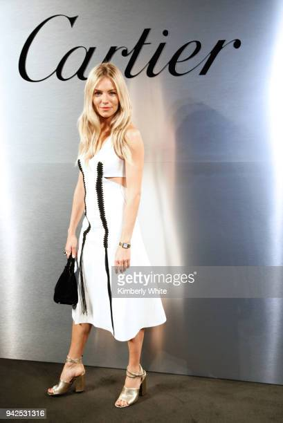 Sienna Miller attends Cartier celebration of the launch of Santos de Cartier Watch at Pier 48 on April 5 2018 in San Francisco California
