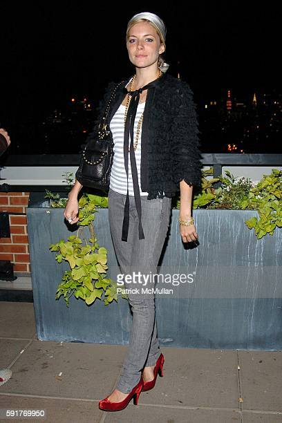 Sienna Miller attends Champagne Perrier Jouet Launch of the 1998 Fleur de Champagne at Soho Grand Penthouse Lofts on October 17, 2005 in New York...