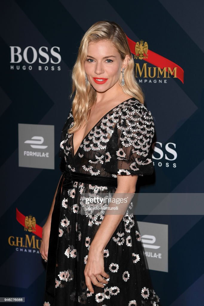 Sienna Miller attends FIA Formula E Gala Dinner at Villa Miani on April 14, 2018 in Rome, Italy.