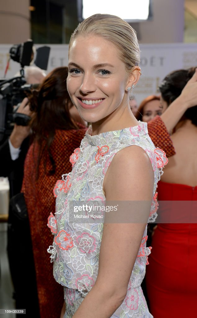 Sienna Miller attends Moet & Chandon At The 70th Annual Golden Globe Awards Red Carpet at The Beverly Hilton Hotel on January 13, 2013 in Beverly Hills, California.