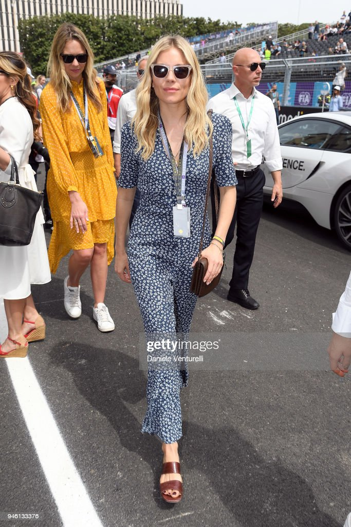 Sienna Miller attends Rome E-Prix on April 14, 2018 in Rome, Italy.