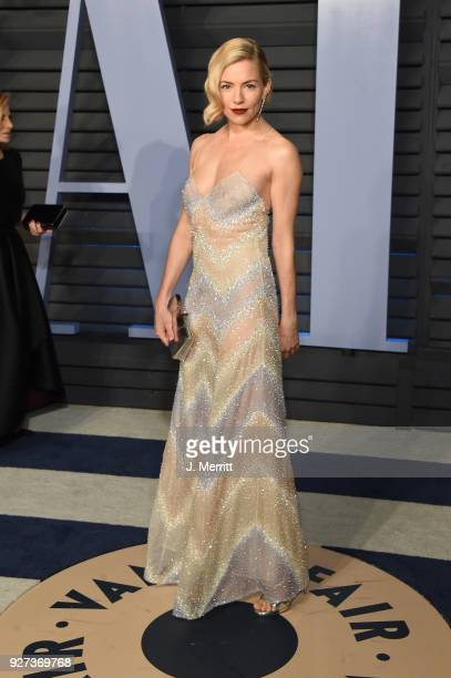 Sienna Miller attends the 2018 Vanity Fair Oscar Party hosted by Radhika Jones at the Wallis Annenberg Center for the Performing Arts on March 4 2018...