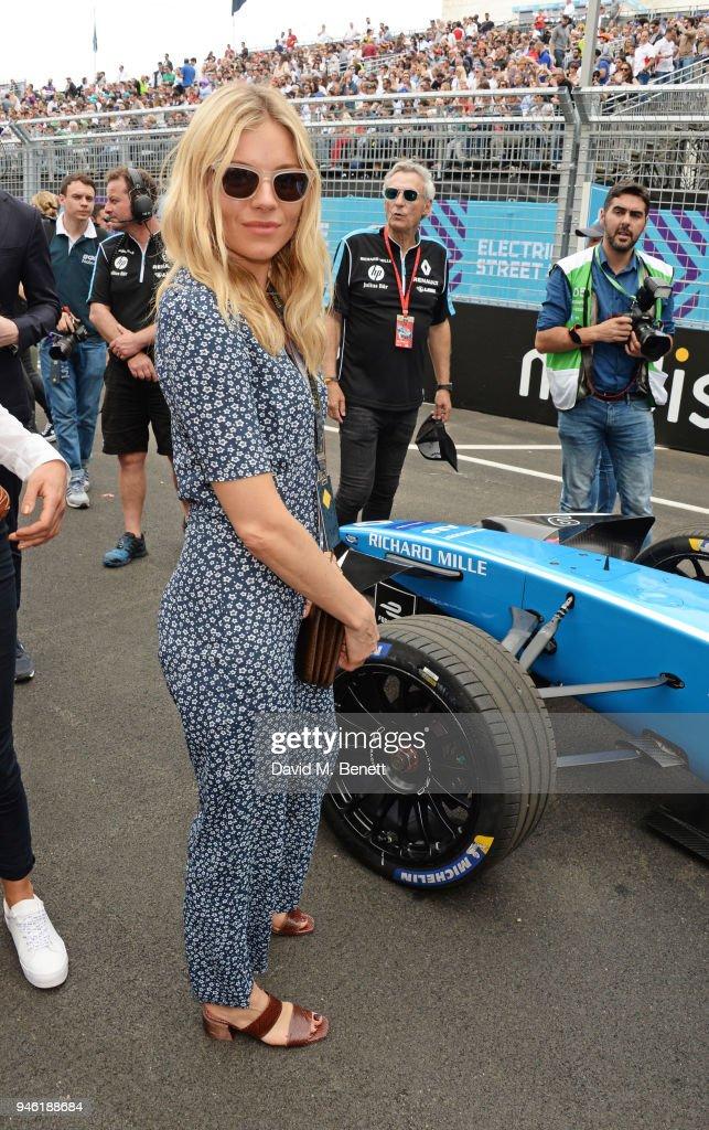Sienna Miller attends the ABB FIA Formula E CBMM Niobium Rome E-Prix 2018 on April 14, 2018 in Rome, .