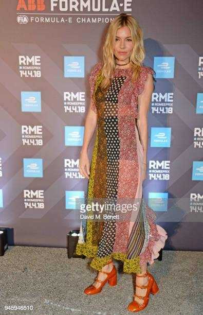 Sienna Miller attends the Formula E cocktail party in the Italian capital ahead of the firstever EPrix in Rome at Casina Valadier on April 13 2018 in...