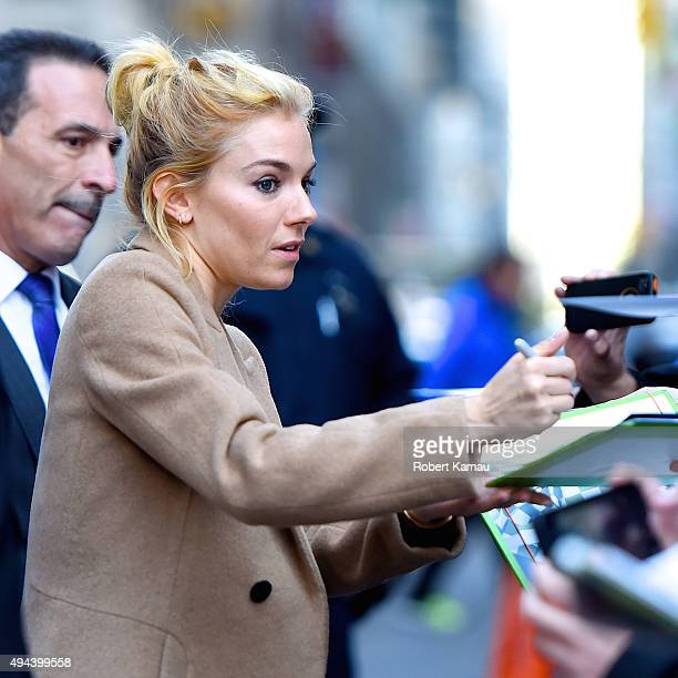 Sienna Miller attends The Late Show with Stephen Colbert on October 26 2015 in New York City