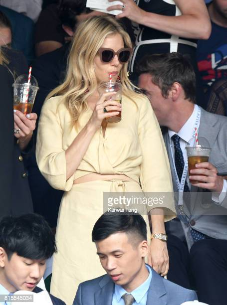 Sienna Miller attends the Mens Singles Final during day thirteen of the Wimbledon Tennis Championships at the All England Lawn Tennis and Croquet...