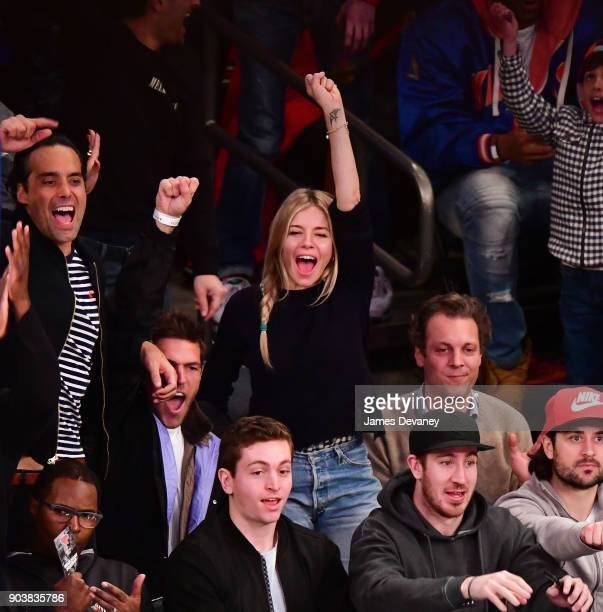 Sienna Miller attends the New York Knicks Vs Chicago Bulls game at Madison Square Garden on January 10 2018 in New York City