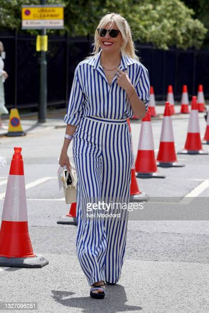 Sienna Miller attends Wimbledon Championships Tennis Tournament Day 7 at All England Lawn Tennis and Croquet Club on July 05, 2021 in London, England.