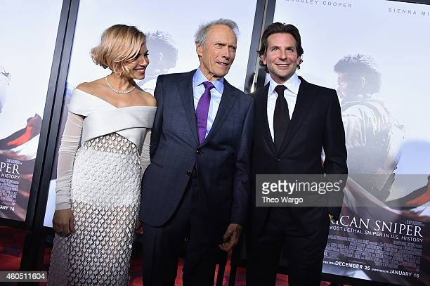Sienna Miller Clint Eastwood and Bradley Cooper arrive at the 'American Sniper' New York Premiere at Frederick P Rose Hall Jazz at Lincoln Center on...