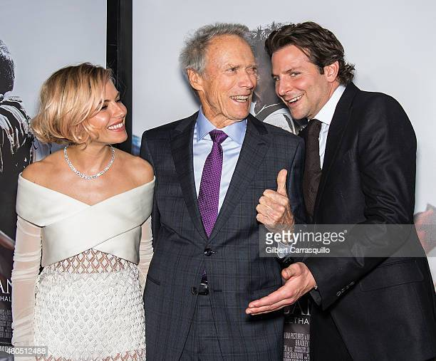 Sienna Miller Clint Eastwood and Bradley Cooper attend the 'American Sniper' New York Premiere at Frederick P Rose Hall Jazz at Lincoln Center on...