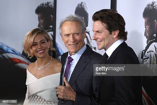 Sienna Miller Clint Eastwood Bradley Cooper arrive at the 'American Sniper' New York Premiere at Frederick P Rose Hall Jazz at Lincoln Center on...