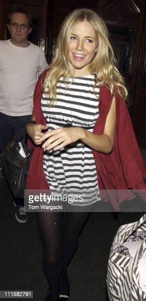 Sienna Miller during Sienna Miller Departs from The Wyndam's Theatre August 20 2005 at The Wyndam's Theatre in London Great Britain