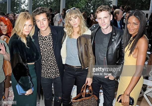 Sienna Miller Harry Styles Suki Waterhouse George Barnett and Naomie Harris attend the front row at Burberry Prorsum Womenswear Spring/Summer 2014...