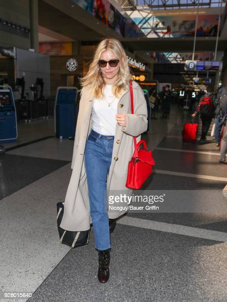 Sienna Miller is seen at 'Los Angeles International Airport' on March 05 2018 in Los Angeles California