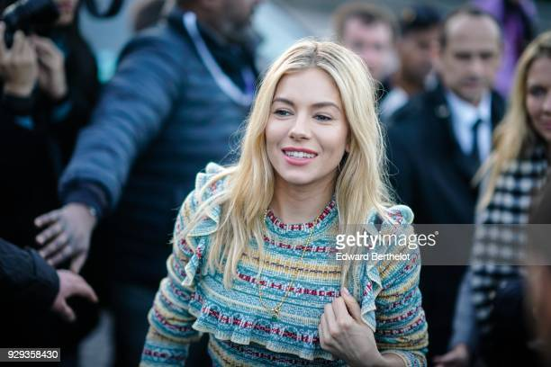 Sienna Miller is seen outside Louis Vuitton during Paris Fashion Week Womenswear Fall/Winter 2018/2019 on March 6 2018 in Paris France
