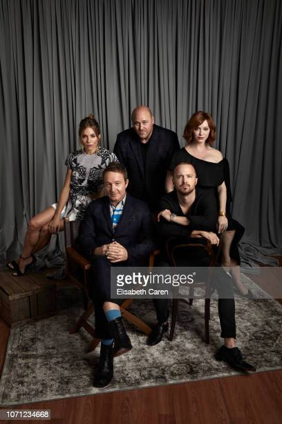 Sienna Miller Jake Scott Will Sasso Aaron Paul and Christina Hendricks from 'American Woman' are photographed for The Wrap on September 9 2018 at the...