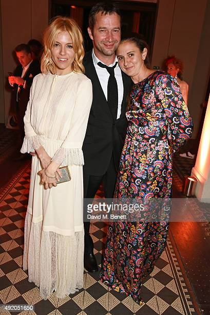 Sienna Miller, James Purefoy and Jessica Adams attend Eva Cavalli's birthday party at One Mayfair on October 9, 2015 in London, England.