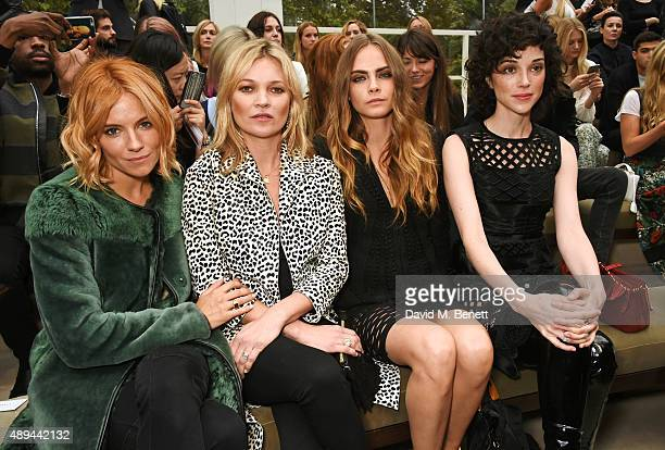 Sienna Miller Kate Moss Cara Delevingne and Annie Clark attend the Burberry Womenswear Spring/Summer 2016 show during London Fashion Week at...