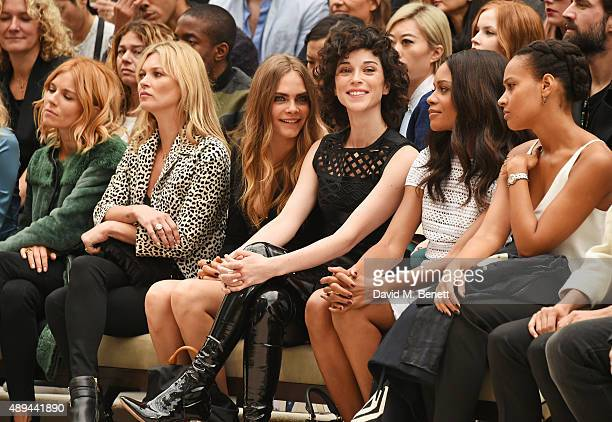 Sienna Miller Kate Moss Cara Delevingne Annie Clark and Naomie Harris attend the Burberry Womenswear Spring/Summer 2016 show during London Fashion...