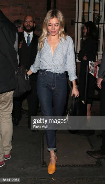 Sienna Miller leaving Apollo Theatre after her performance in 'Cat on a Hot Tin Roof' on September 26 2017 in London England