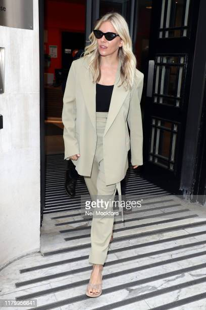 Sienna Miller leaving BBC Radio 2 after an interview on the Zoe Ball Breakfast show on October 09 2019 in London England