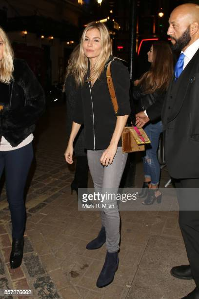 Sienna Miller leaving the Apollo theatre after performing in Cat on a Hot Tin Roof on October 3 2017 in London England