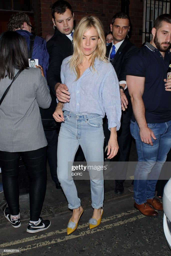Sienna Miller leaving the Apollo theatre in Soho on August 12, 2017 in London, England.
