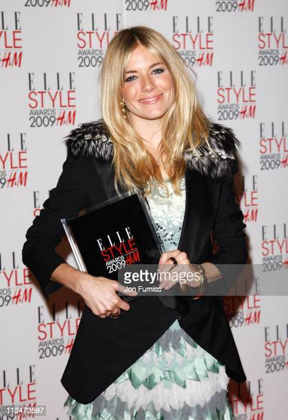 Sienna Miller poses in the Press Roomat the ELLE Style Awards 2009 held at Big Sky London Studios on February 9 2009 in London England