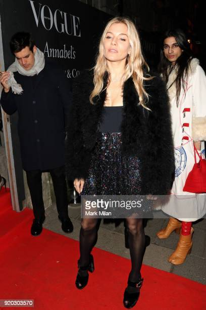 Sienna Miller seen at the Vogue and Tiffany Co party at Annabel's club after attending the EE British Academy Film Awards at the Royal Albert Hall on...